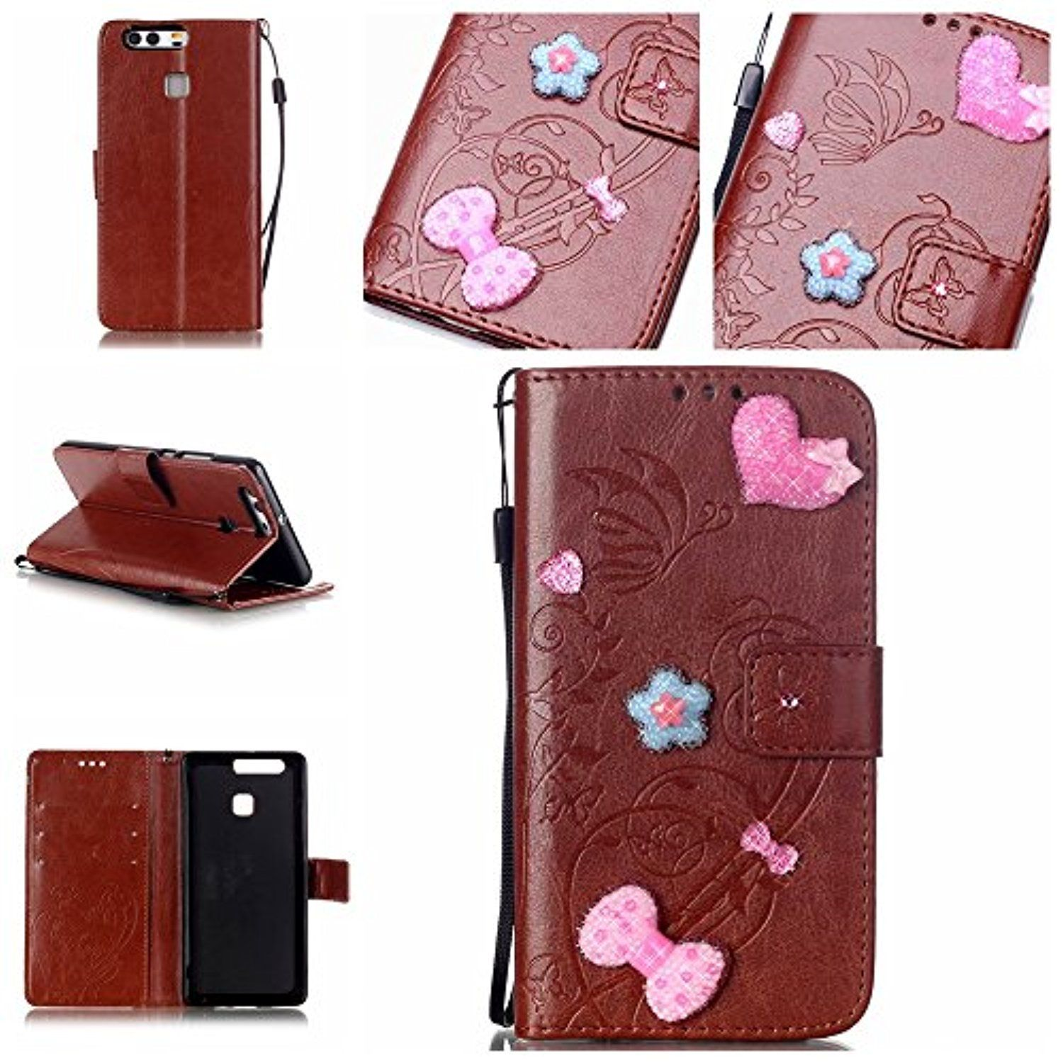 Huawei P9 Case,Huawei P9 Wallet Case,P9 Case,Spigeotter Flip Cover Wallet PU Leather with Stand + Lanyard Case for Huawei P9 Brown -- Awesome products selected by Anna Churchill