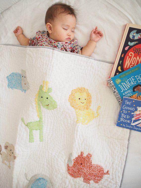 Jungle Kantha Reversible Baby Quilt | Gender Neutral | Hand Made Elephant Lion Monkey Crib Baby Girl