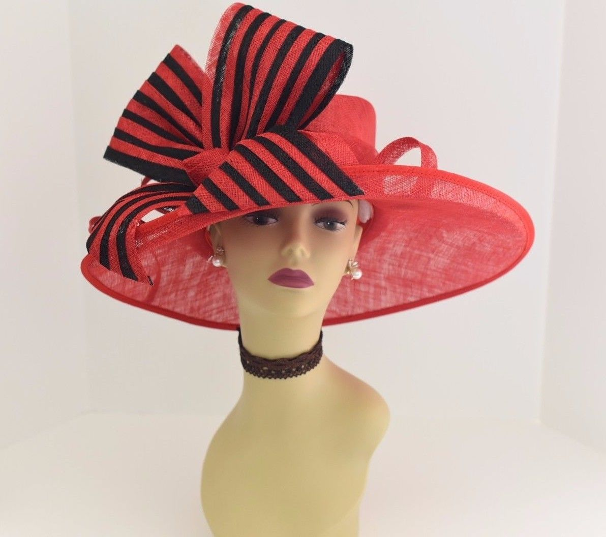 f2d0e11bf00 High Quality Kentucky Derby Church Wedding 3 Layers with Jumbo Bow Sinamay  Wide Brim hat ( Red Black ). The crown is decorated with a ...