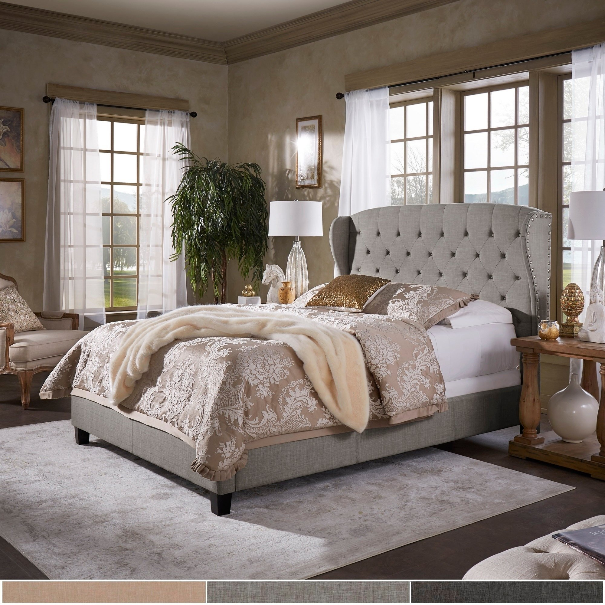 Eugenia Adjustable Tufted Scalloped Wingback Bed By Inspire Q