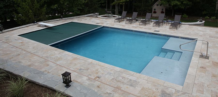 Electronic pool covers inground liner patterns in