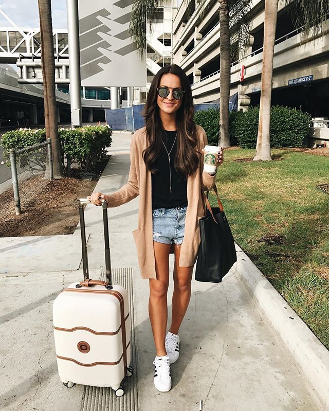 """""""hopped off the plane at LAX with a dream and my cardigan"""" ✈️ (i couldn't resist 😂🙊) but really...tee and cardigan are both under $50 + come in several colors 🙌🏻. southern california here we come ☀️    @liketoknow.it http://liketk.it/2puc4 #liketkitj"""