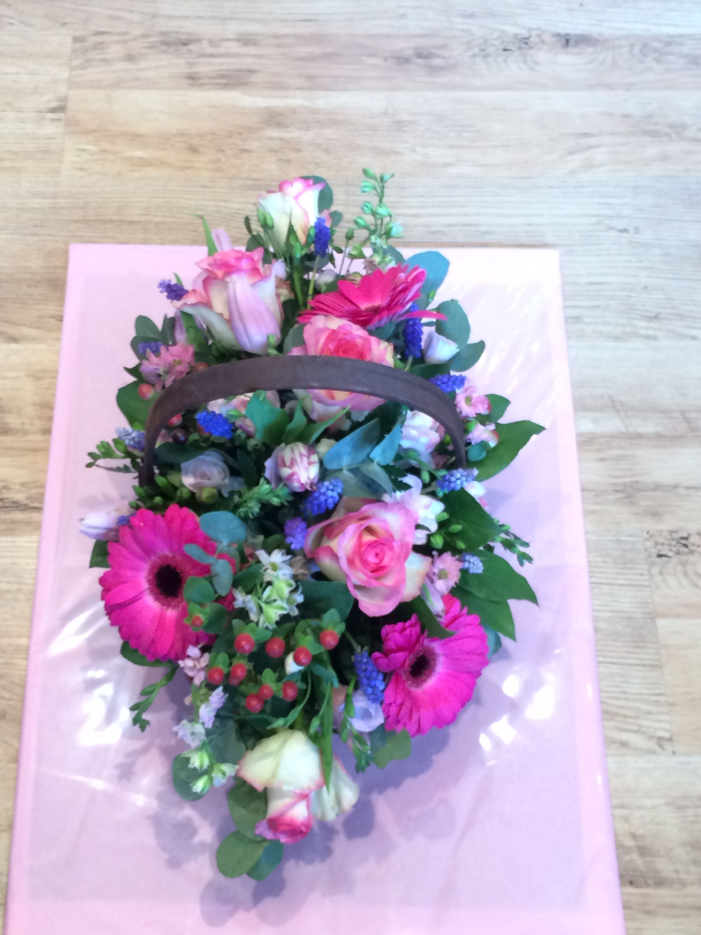 Beautiful Fresh Basket Of Spring Flowers For Mothers Day This