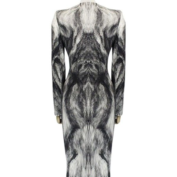 Pre-owned Alexander Mcqueen Artic Fox Fur Print Form Fitting Size ...