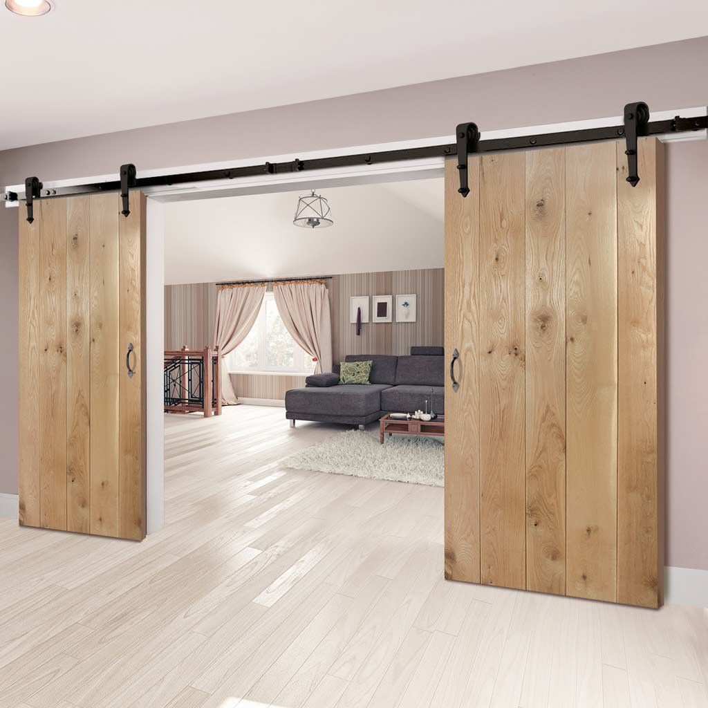 Thruslide Traditional Nostalgia Solid Oak F L Sliding Double Door Lifestyle Image Ba Sliding Bedroom Doors Barn Doors Sliding Barn Style Sliding Doors