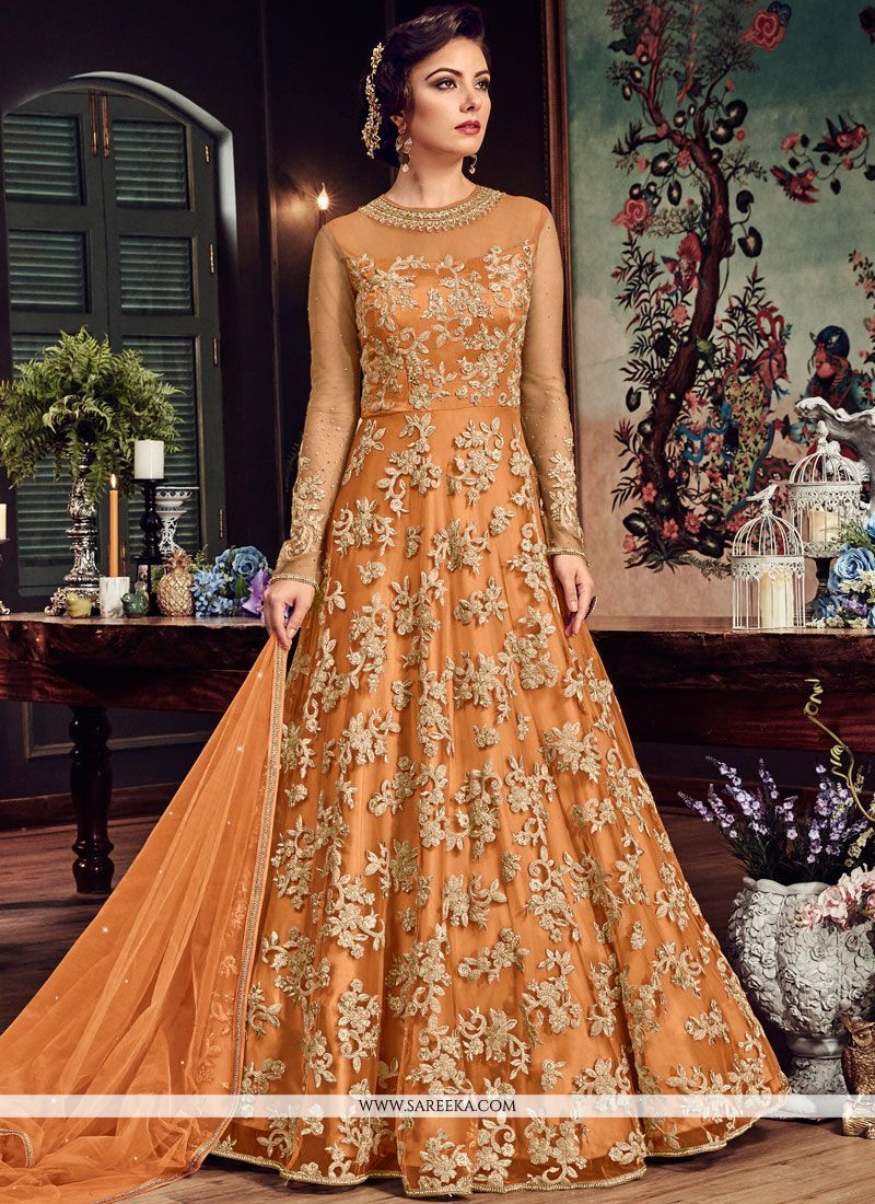 75971c9abf Be your distinct style diva with this orange fancy fabric floor length anarkali  suit. The gorgeous embroidered, resham and zari work through the attire is  ...