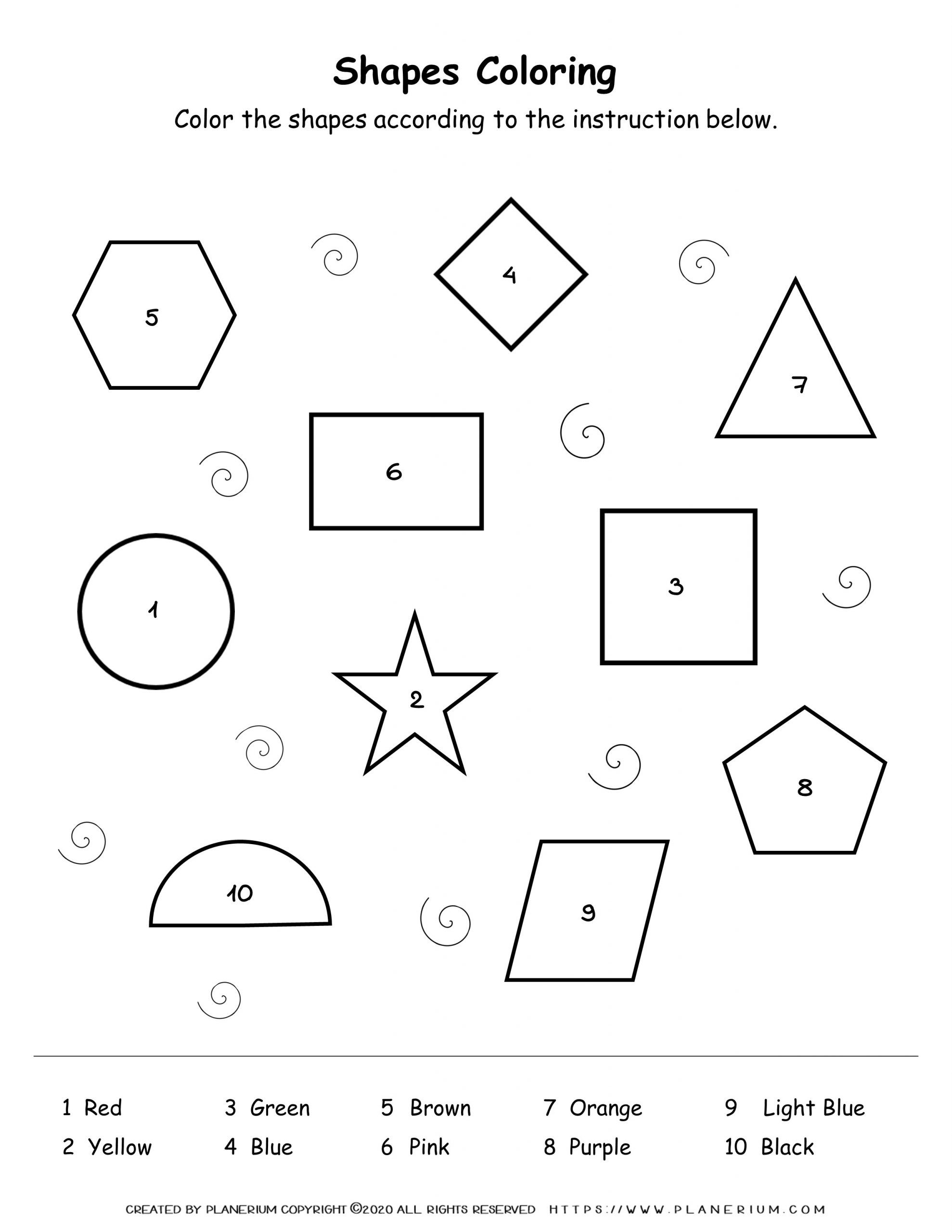 Shapes Coloring By Number Planerium Shapes Activities Color Activities Seasons Worksheets [ 2560 x 1978 Pixel ]