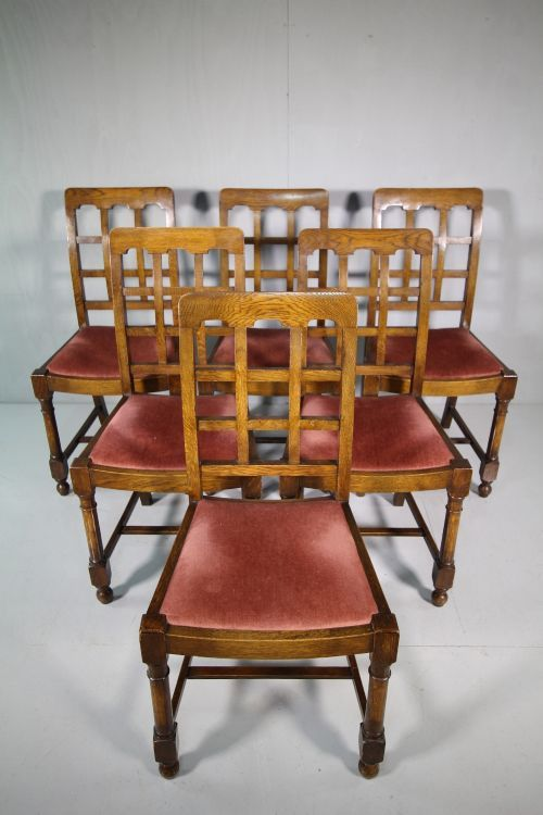 Set Of Six Heals 1930 S Tilden Oak Dining Chairs 503124 Ingantiques Co