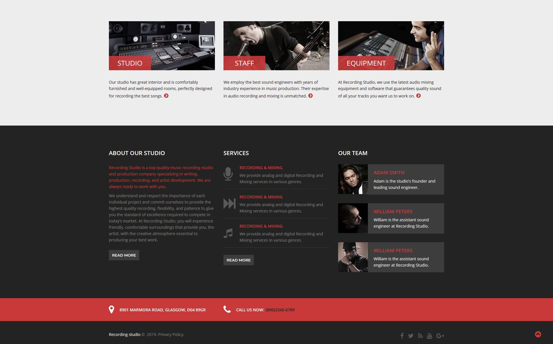 Recording Studio Music Minimal Responsive Html Website