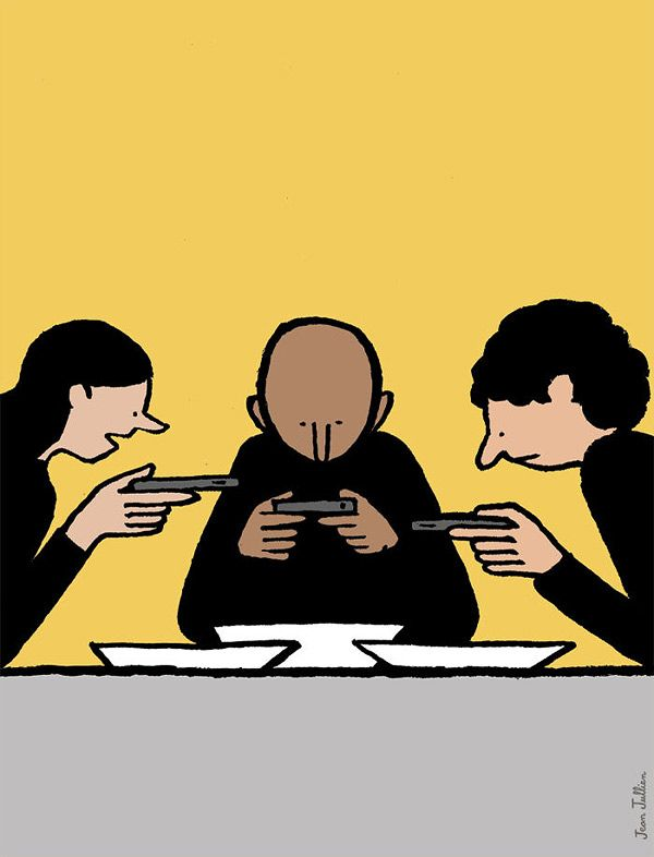 Wonderful observational illustrations critiquing our addiction to technology by French artist Jean Jullien. Jullien studied atCentral Saint Martins and the Royal College of Art and iscurrently based in London. More images below!         … Continue reading →