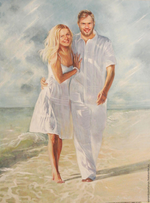 """Купить """"Счастье любить"""" - голубой, любовь, мужчина и женщина, море, небо, портрет, портрет на заказ"""