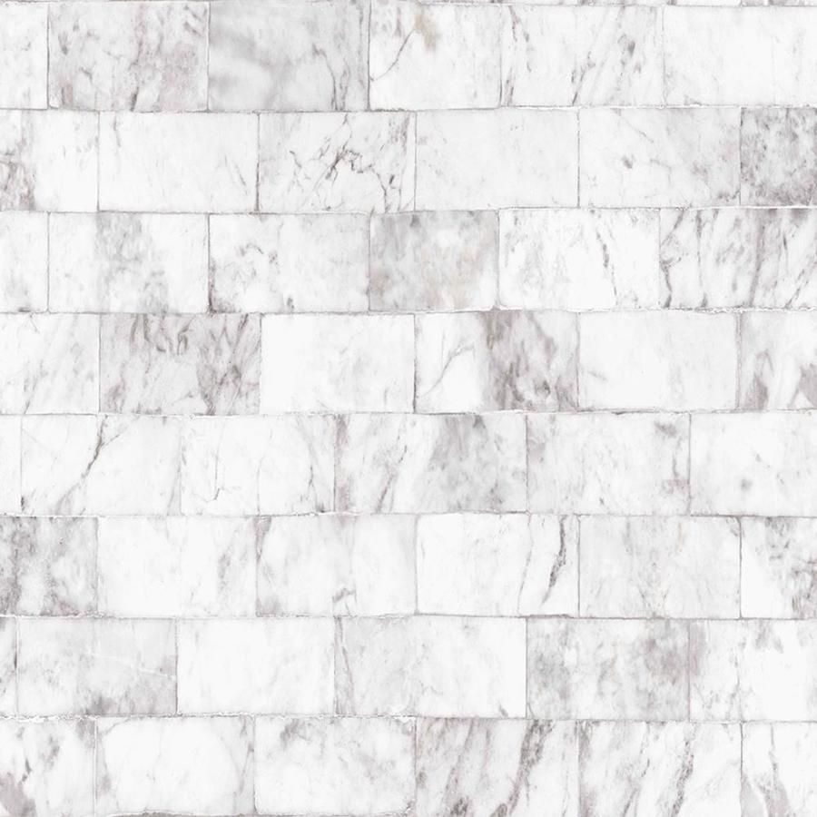 Graham Brown Strata 56 Sq Ft White Gray Vinyl Textured Tile Unpasted Paste The Wall Wallpaper Lowes Com Grey Removable Wallpaper Brick Wallpaper Grey Wallpaper