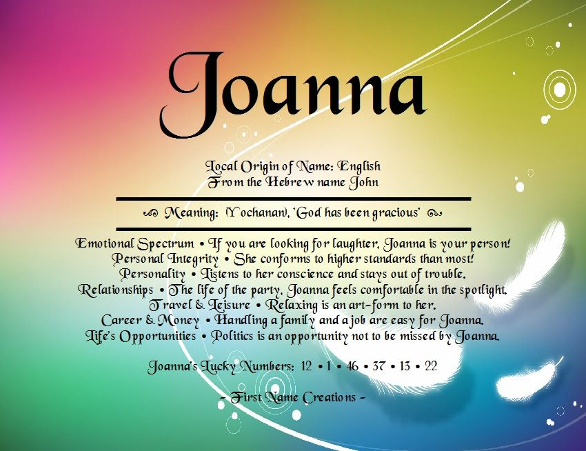 Joanna Name Meaning - First Name Creations | What's my ...
