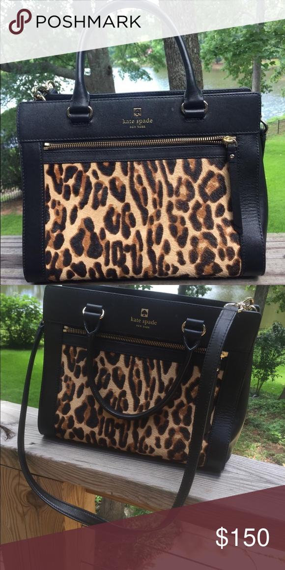 6385c9916db8 RARE Genuine leopard Calf hair Kate Spade Genuine leopard print calf hair  and black leather.