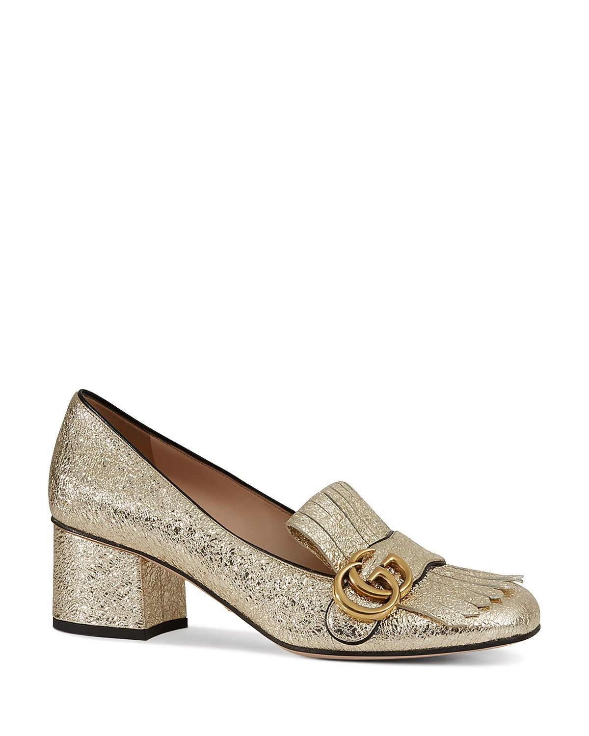 Gucci Marmont Metallic Mid Heel Loafers