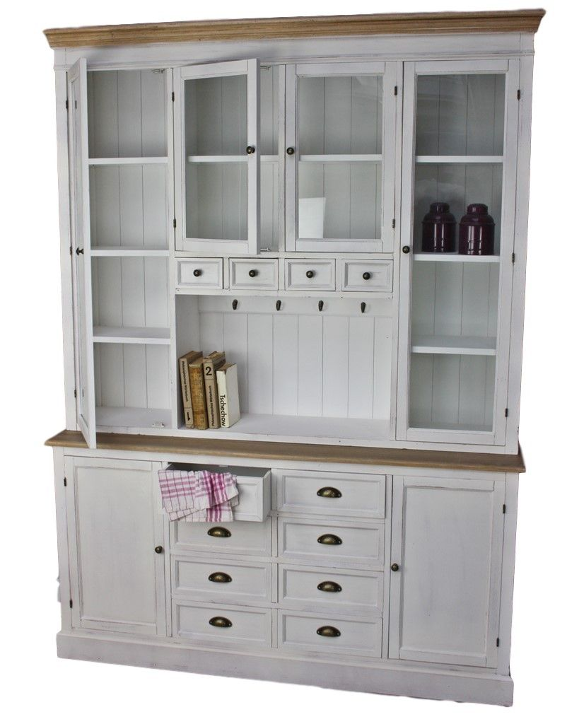 Küchenschrank weiß braun Holz | Schrank holz, Buffetschrank ...