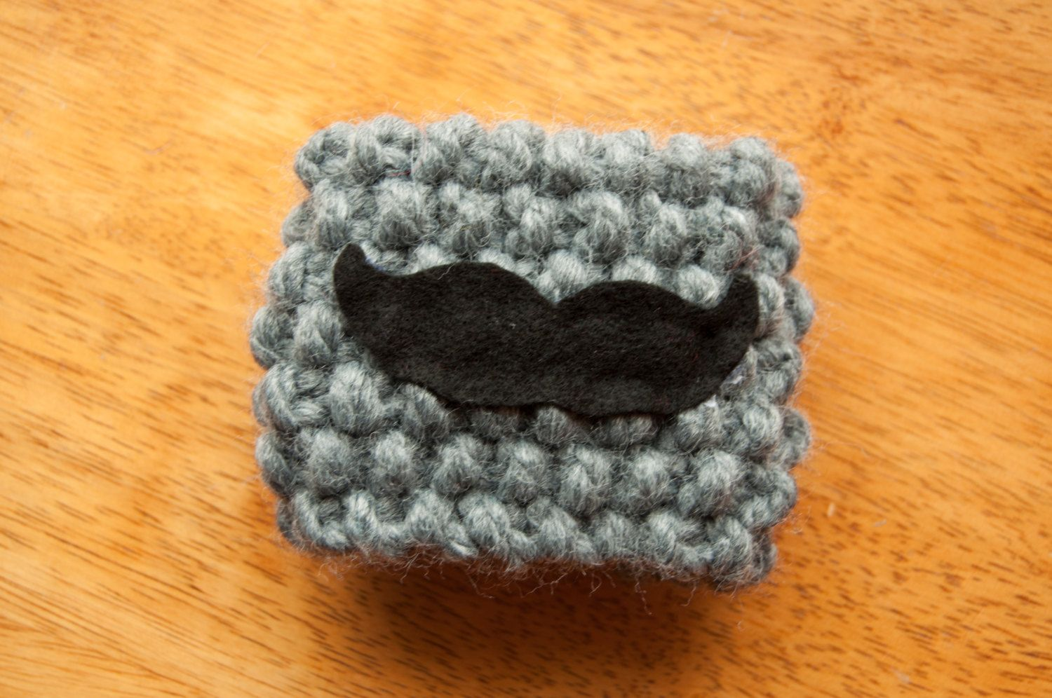 Mustache Knit Coffee Cozy by KnittingbySengul on Etsy