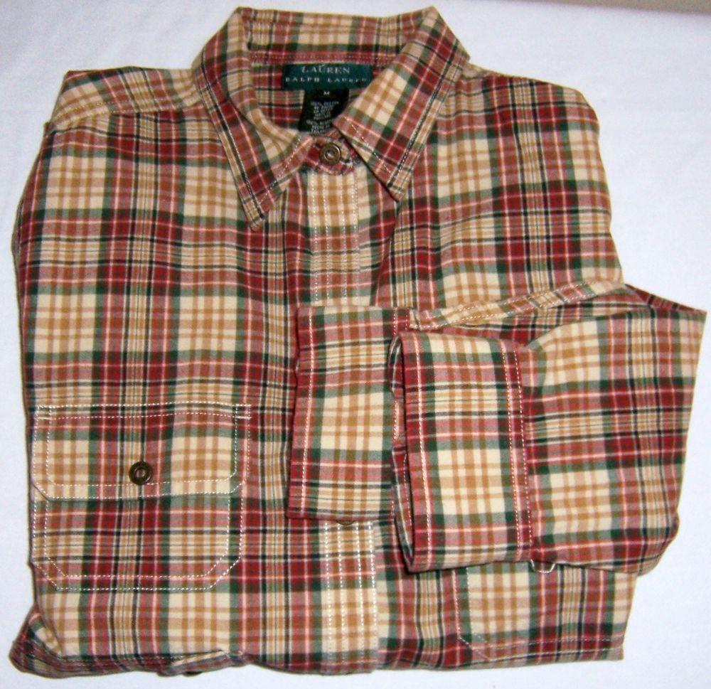 RALPH LAUREN Women's Medium Multi Color Plaid Ladies Blouse Shirt  Button Top  #RalphLauren #ButtonDownShirt #Casual