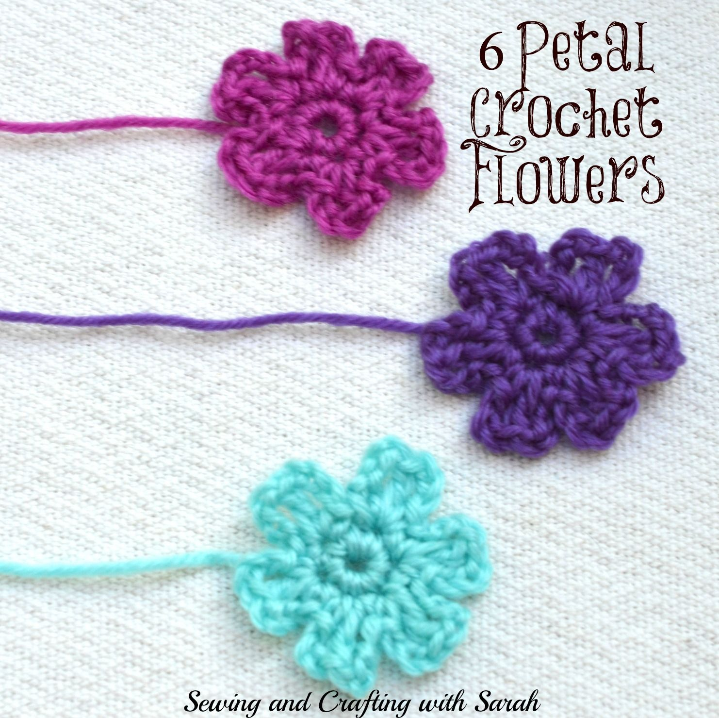 Crochet a 6 petal flower to place onto barrettes, headbands, and ...