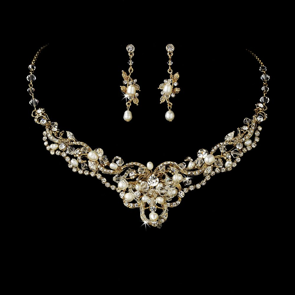 Silver Freshwater Pearl And Crystal Bridal Necklace Earring Set