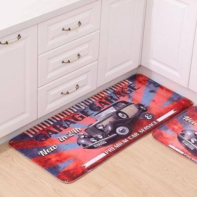 Football Printed Flannel Carpet Floor Mat Bathroom Kitchen Entry Absorbent Mat