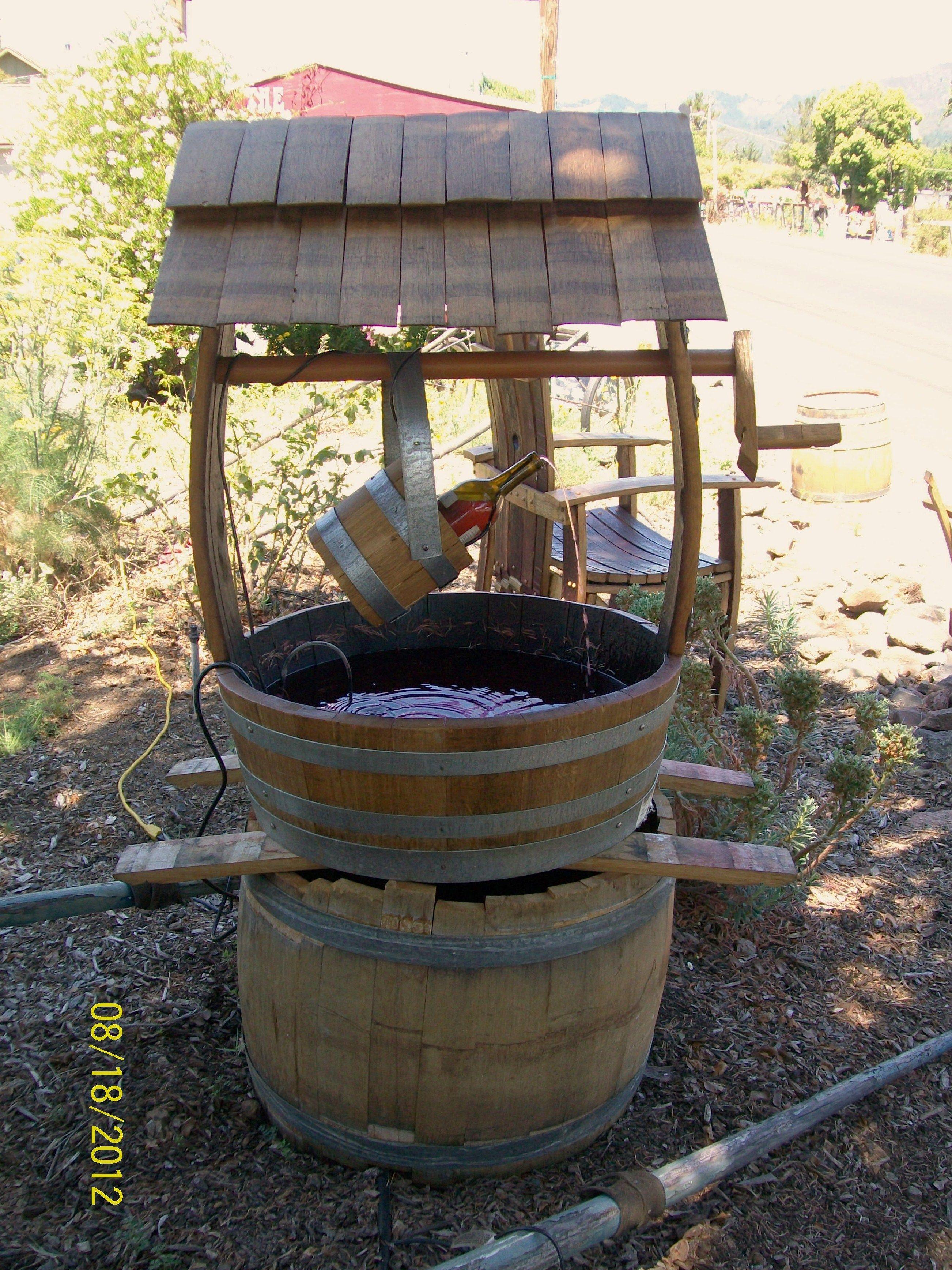 Wine Barrel Fountain Waterfall