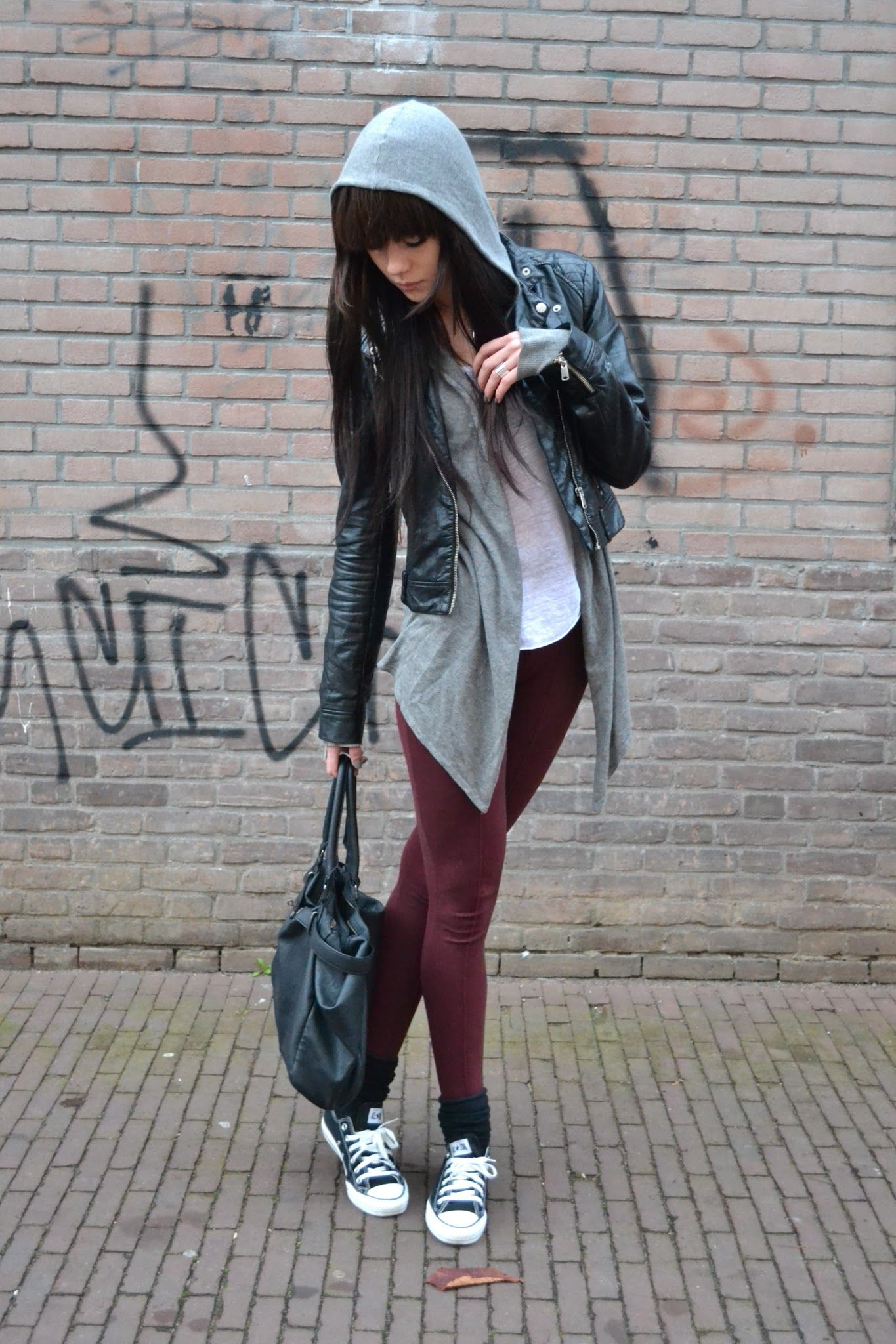 Burgundy leggings + Leather jacket in 2019 Fashion