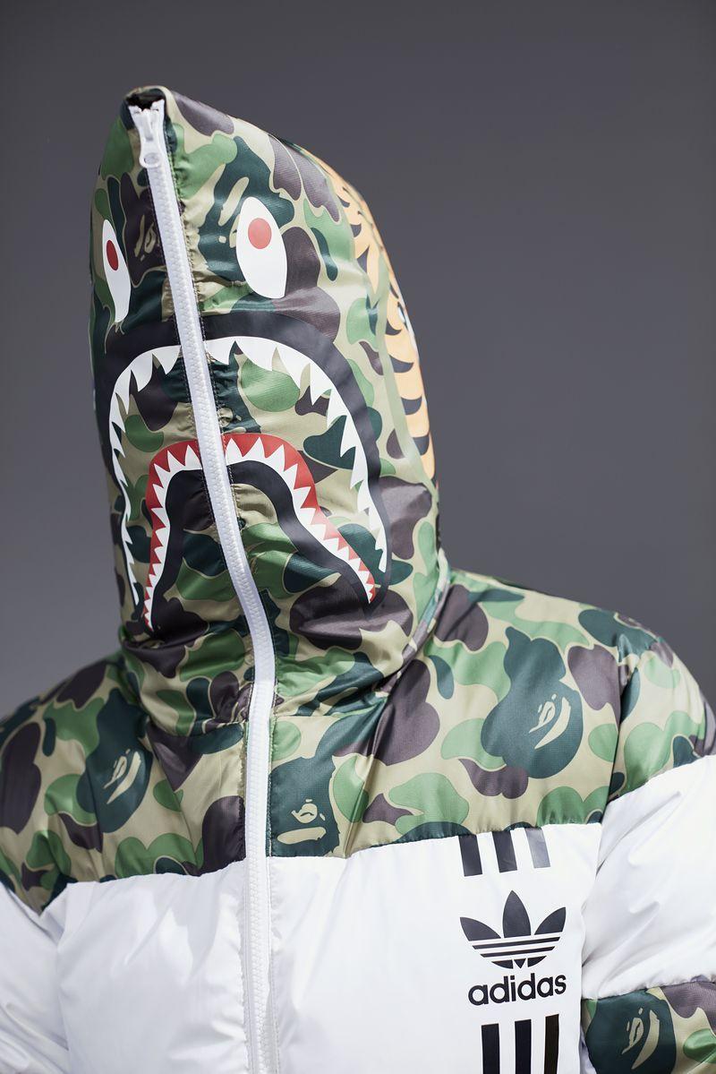 a bathing ape x adidas shark bape zip up green camo jacket 1