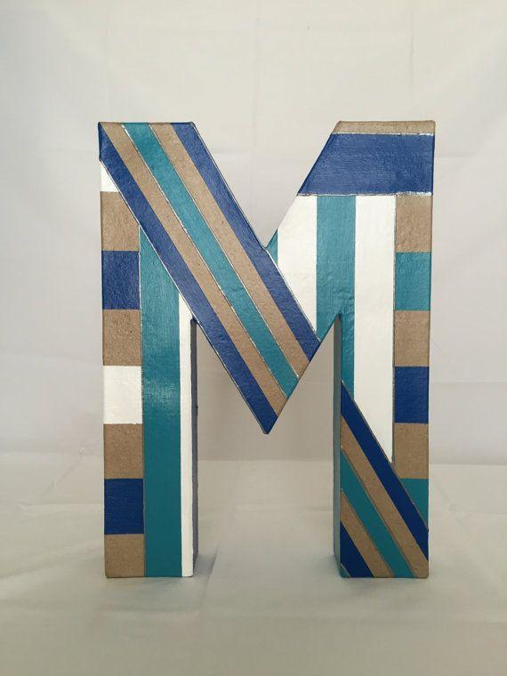Painted Paper Mache 39 M 39 M Painted M Letter Art Personalized Art Personalize Art Letter Art Painted Paper