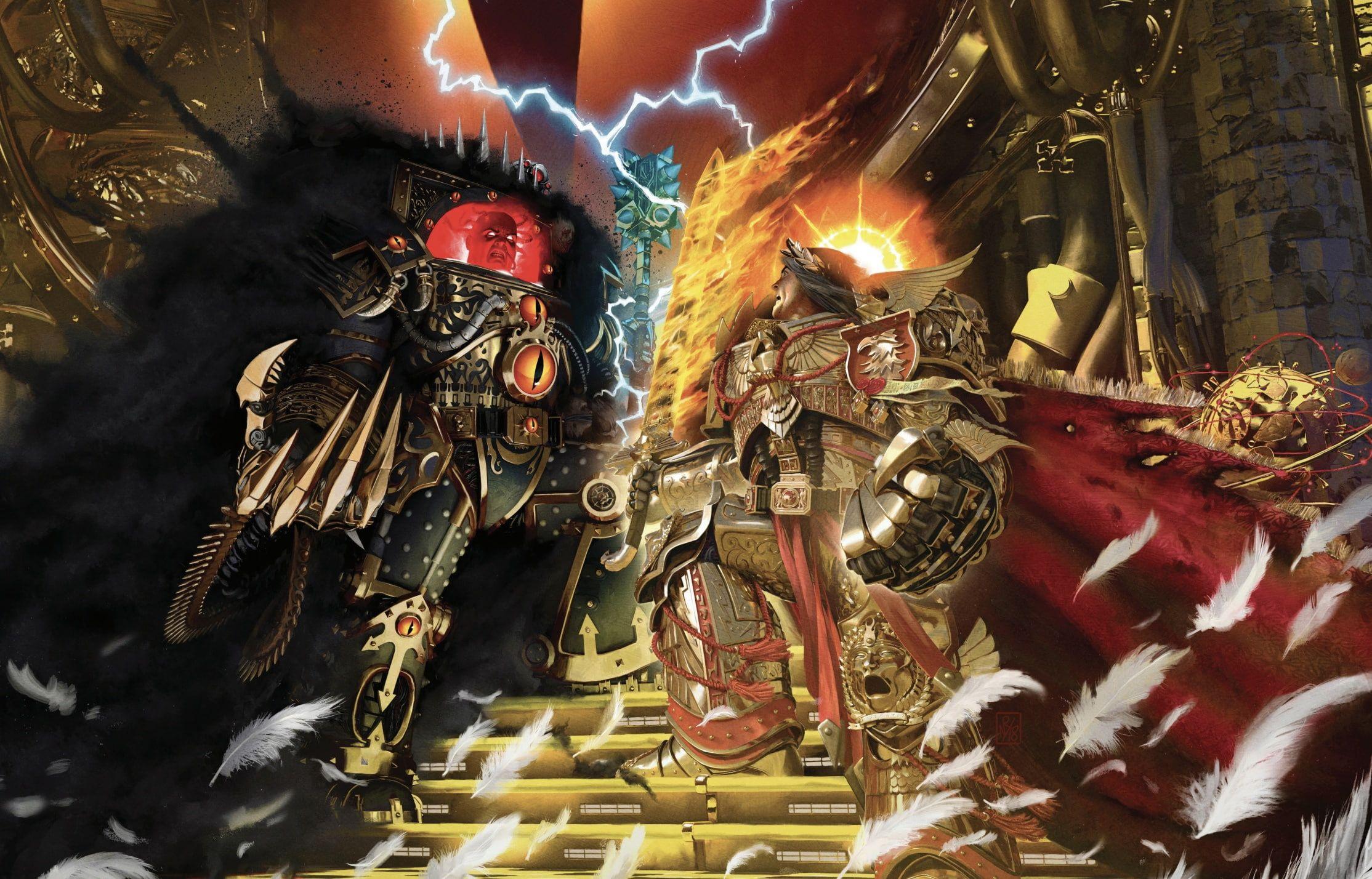 Horus Heresy Battle Warhammer 40 000 Emperor Of Mankind Horus Artbook Traitor Primarch 1080p Wallpaper In 2020 Warhammer The Horus Heresy Warhammer 40k Artwork