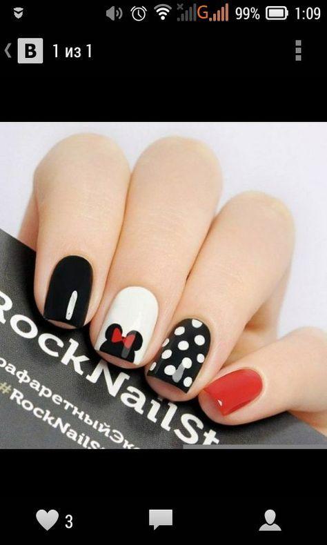 simple minnie mouse manicure | Nails | Pinterest | Diseños de uñas ...