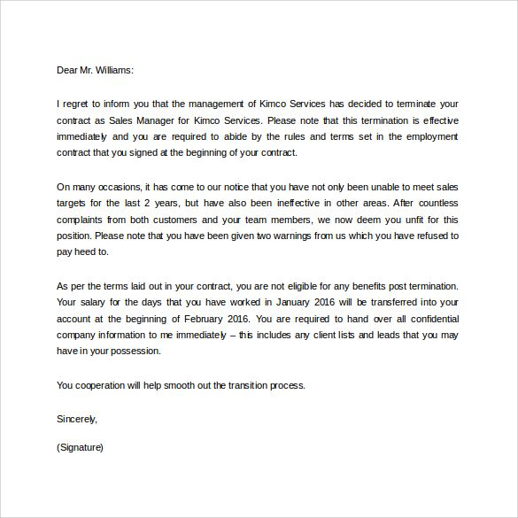 download job termination letter due lack work templates free - work letter