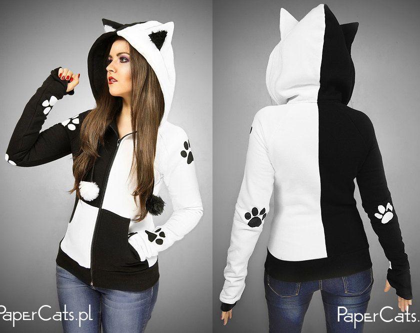 Assassins Creed Girls Fashion Cat Ear Hoodie Sweater Black