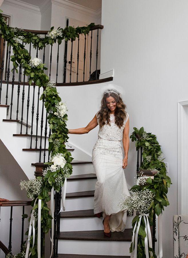 A Stylish Modern Wedding In Toronto Weddingbells Wedding Staircase Decoration Wedding Staircase Wedding Stairs