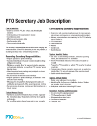 Pto Secretary Job Description  Fundraising    Job