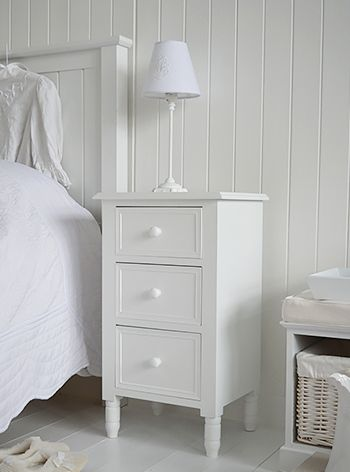 Simple White Bedside Cabinet With Drawers Bedroom