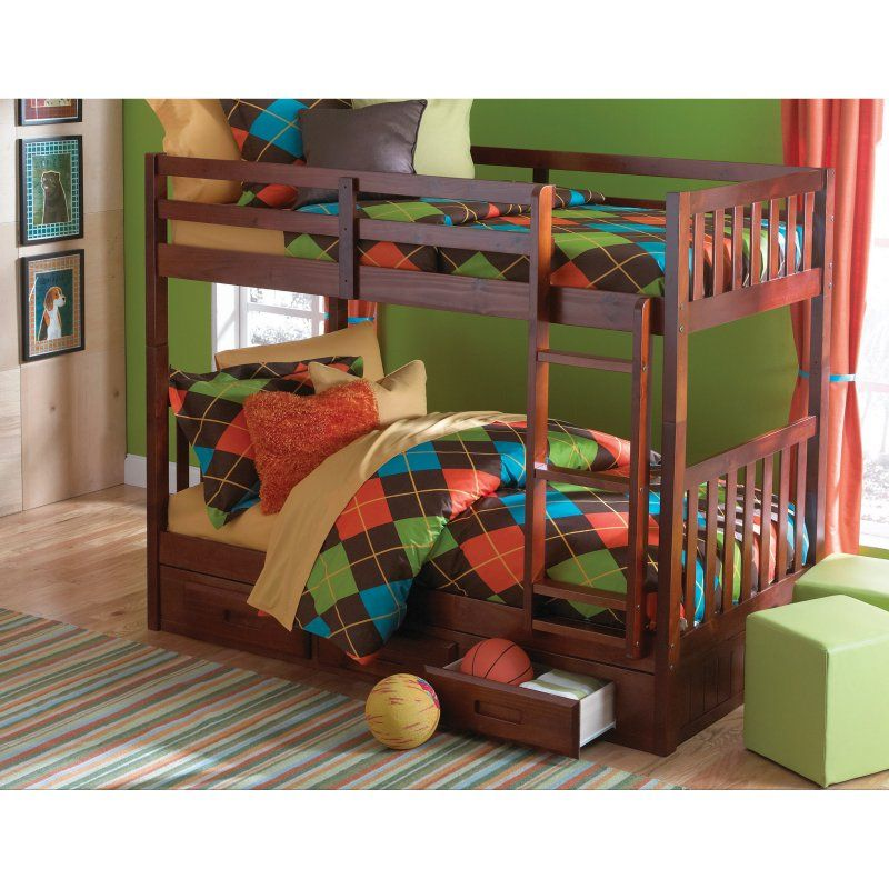 Donco Twin over Twin Mission Bunk Bed - Merlot - DOT198