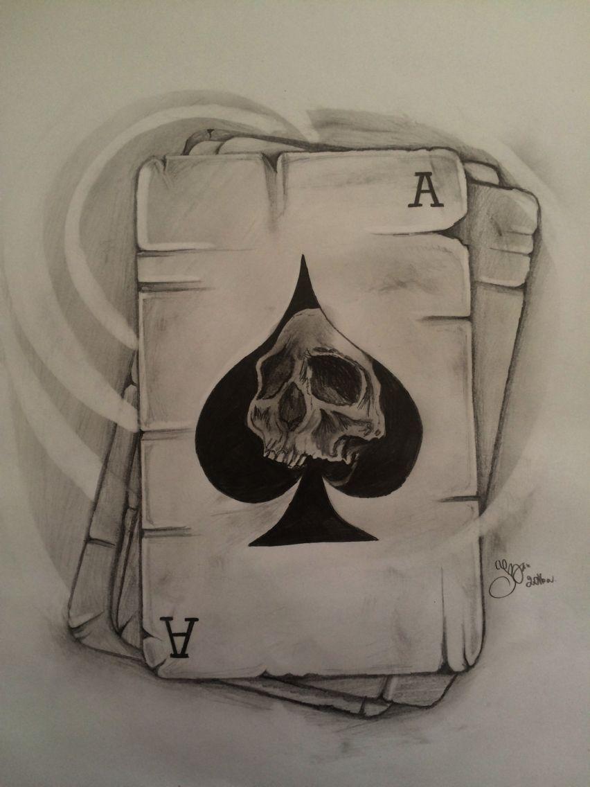 Skull Play Cards Tattoo As Pik Tatuaż Tatuaże I