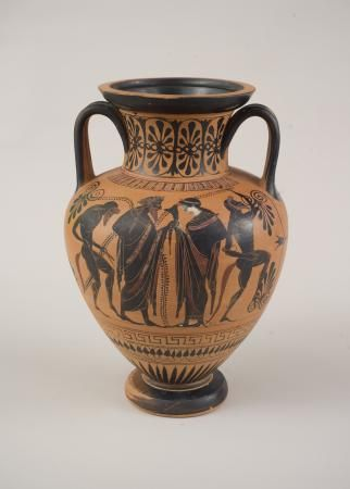Amphora,  attributed to the Euphiletos Painter, (Greek),  Terracotta,  c. 540-530 BC,  1967.22    Philbrook Museum Purchase, Tulsa Collectors Group Purchase