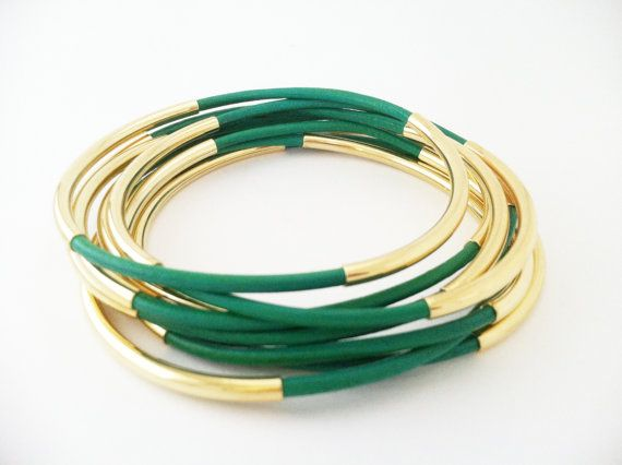 Kelly Green Leather Bangle Bracelets with Double Gold Tube Accents. $40.00