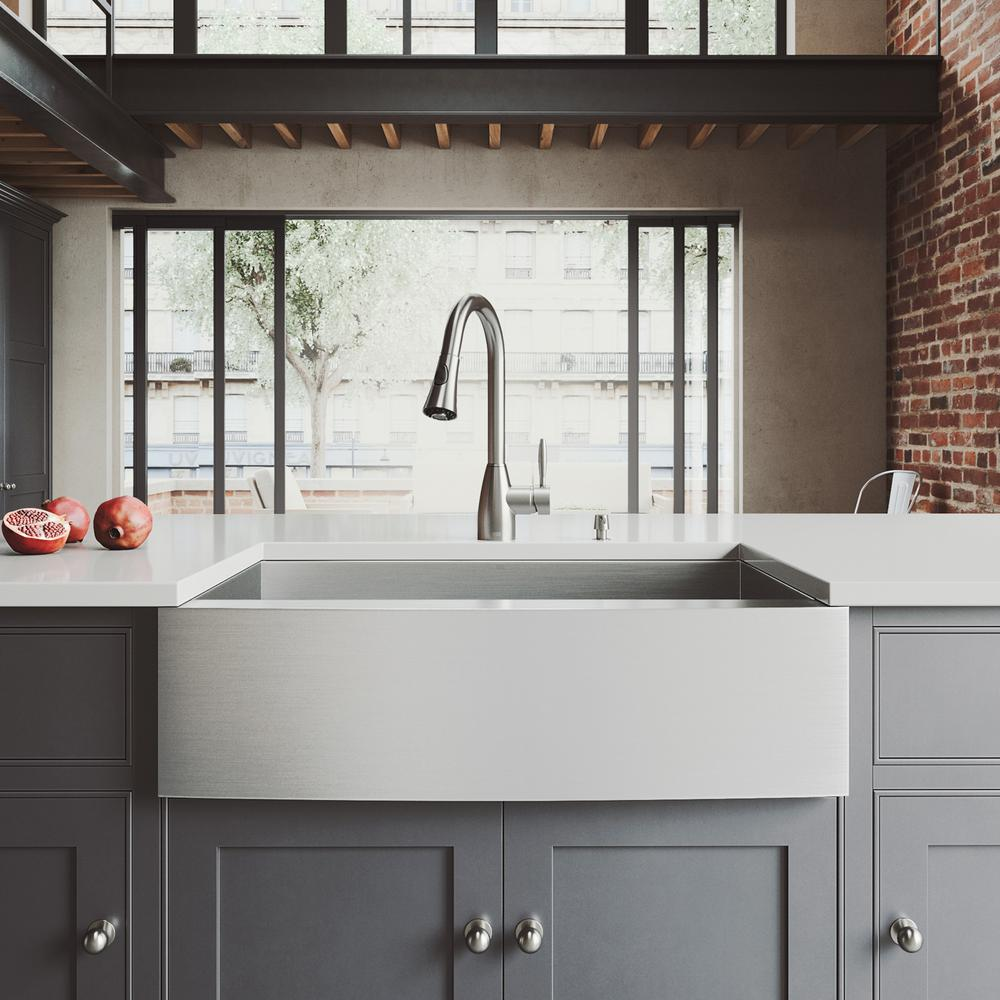 Vigo All In One 33 In Camden Stainless Steel Single Bowl Farmhouse Kitchen Sink With Pull Down Faucet In Stainless Steel Satin Farmhouse Sink Kitchen Double Bowl Kitchen Sink Single Bowl Kitchen Sink