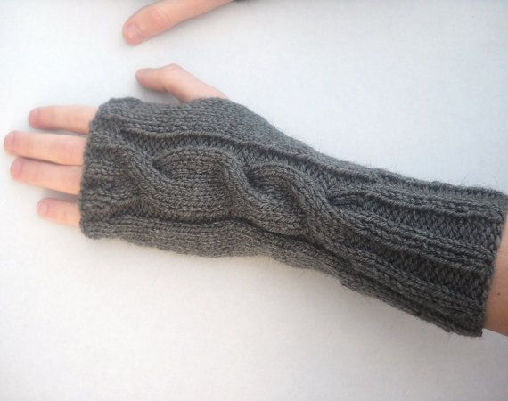 Pdf Knitting Pattern Mens Cable Knit Wrist Warmers Fingerless Gloves