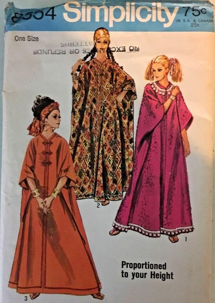 VTG 1969 Simplicity Sewing Pattern Caftan Muumuu BoHo House Dress OSFA