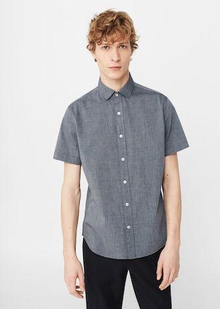 Skinny Fit Overhemd.Getextureerd Katoenen Slim Fit Overhemd Heren Men S Fashion