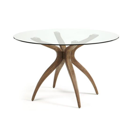 Jenson Round Gl Dining Table And 4 Ameera Chairs In Aubergine