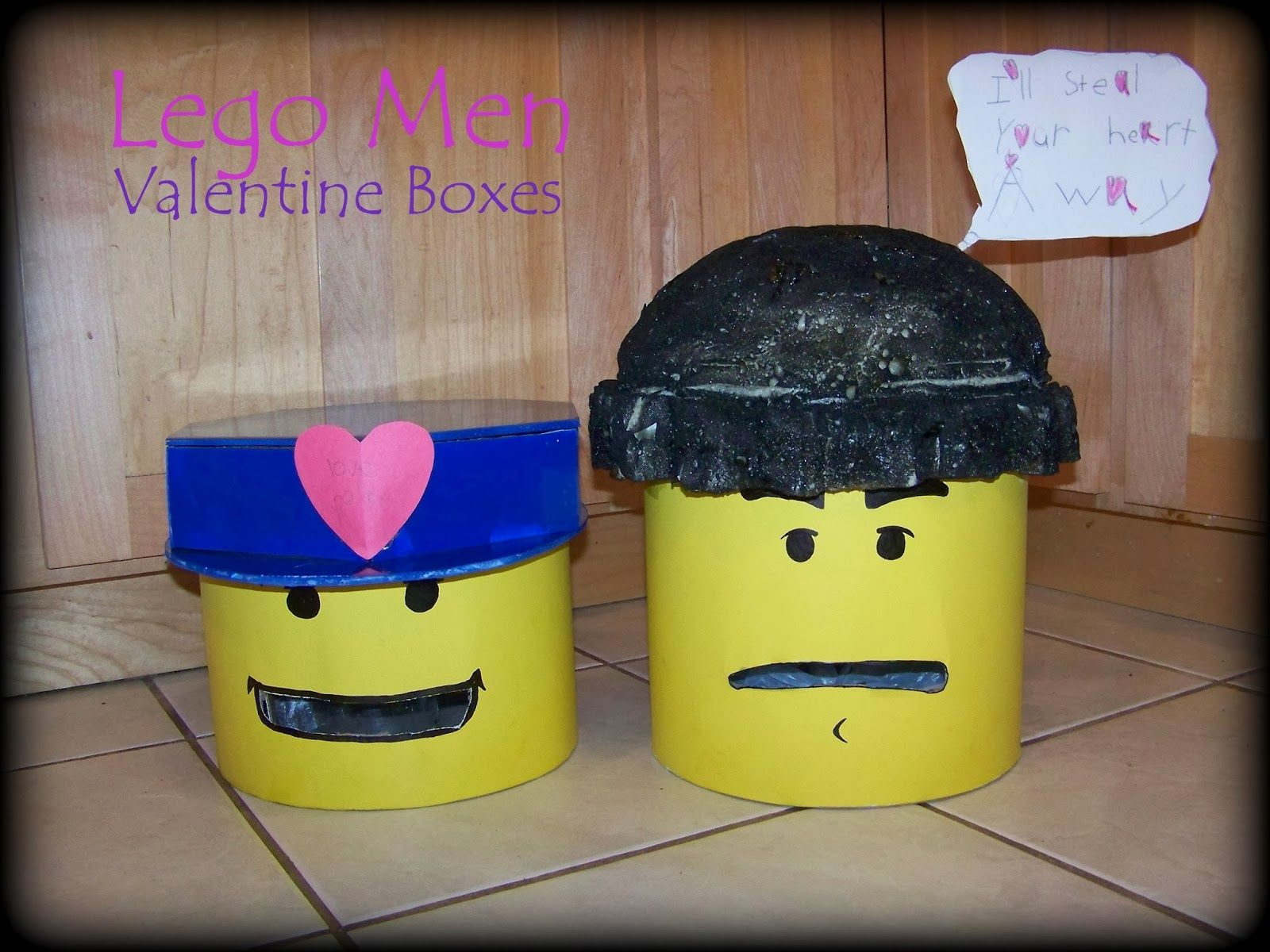 """Cute Lego Men Valentine Boxes!  """"I'll steal your heart away"""" and the """"Love Police"""""""
