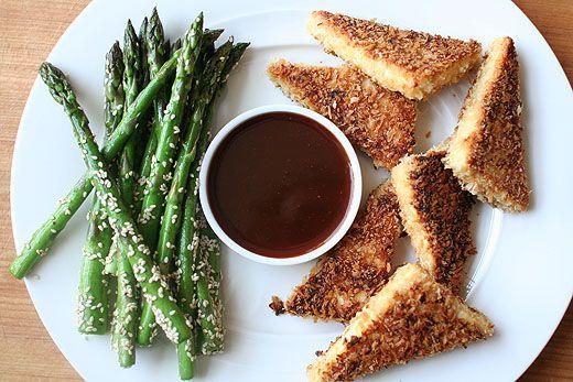crispy tofu with sesame asparagus by tim mazurek