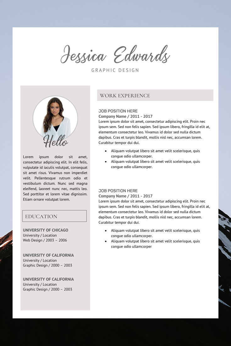Modern Resume Template Resume Template With Photo Resume Etsy In 2020 Cv Template Word Resume Template Word Modern Resume Template