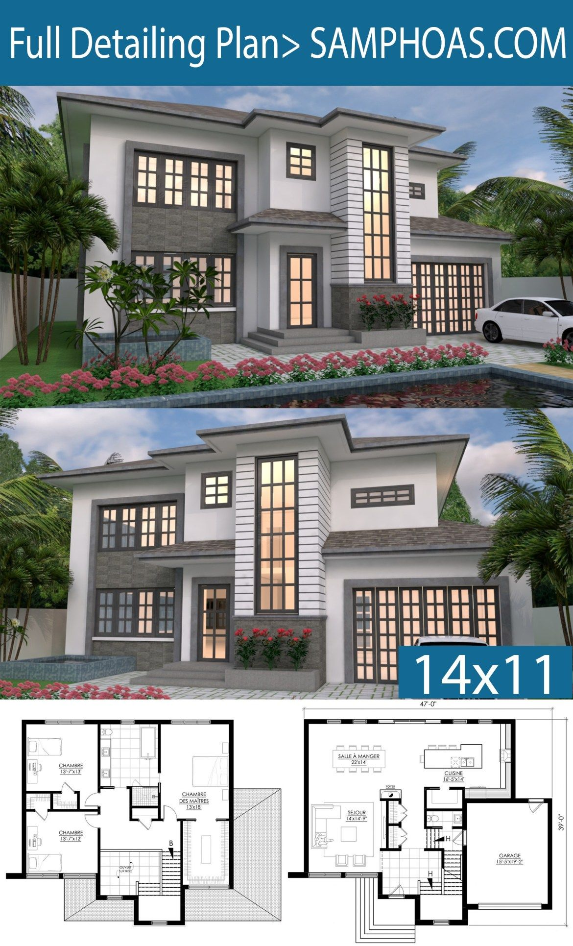 2 Story House Design 14x11m Samphoas Plansearch 2 Story House