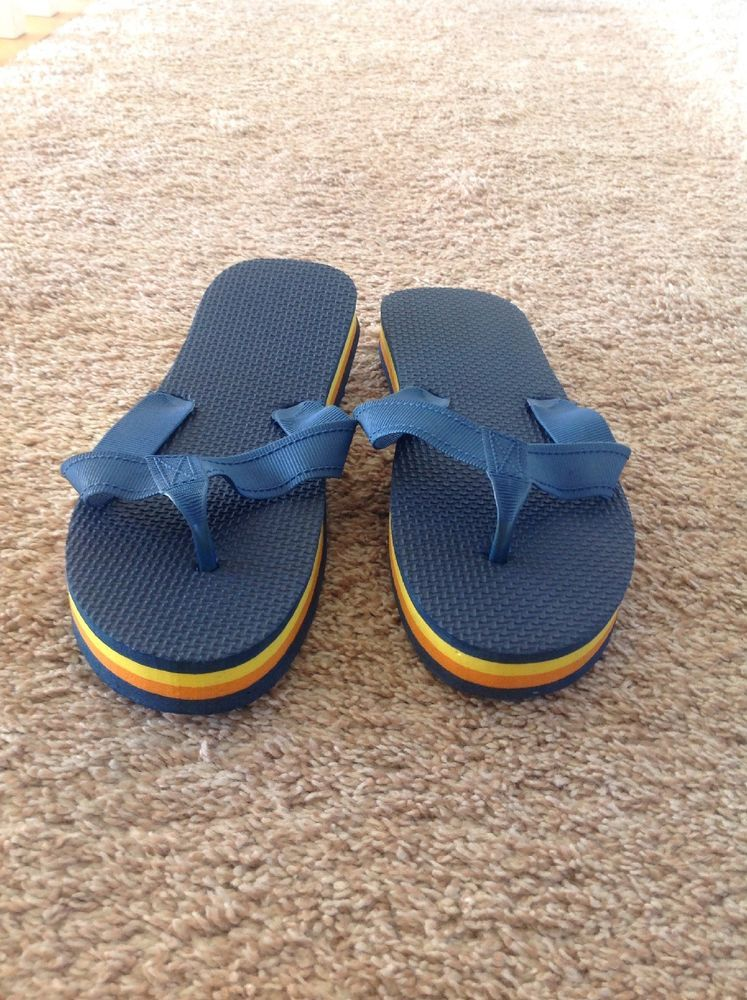 22d07f39b Retro 70 s   80 s Orange Yellow Striped Chunky Rubber Suede Flip Flops  Men s 8-9  fashion  clothing  shoes  accessories  womensshoes  sandals  (ebay link)